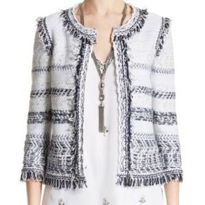 ST. JOHN COUTURE Tajdar Fringed Tweed Jacket NEW